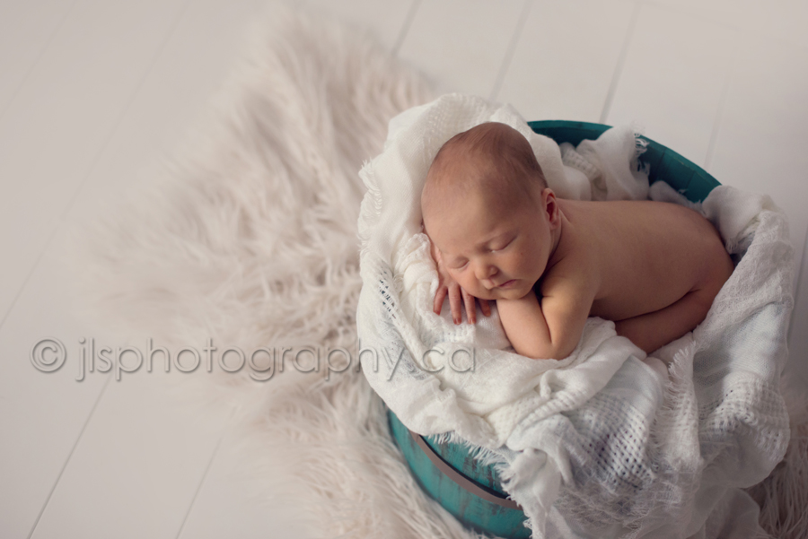 Newborn in a prop, Newborn in barrel, Best Newborn Photographer in Langley BC, Best Newborn Photographer White Rock BC, Newborn baby boy posed, JLS Photography,