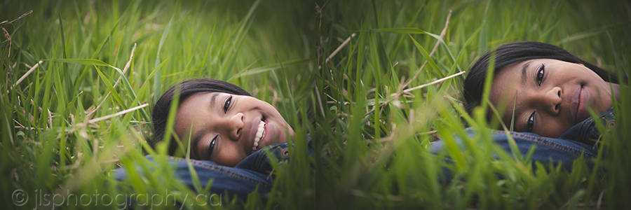 Seniors portraits laying in the grass