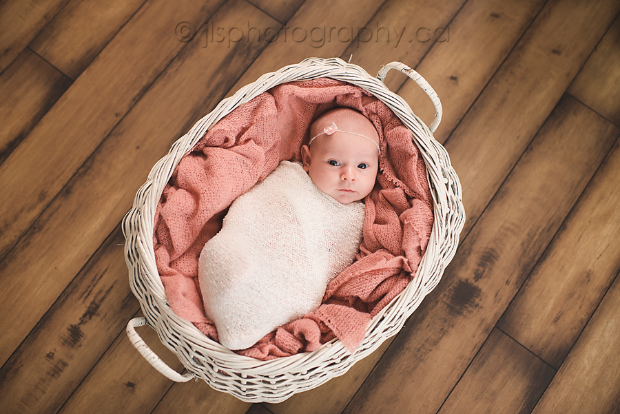 Newborn wrapped in basket 4 week old baby photos