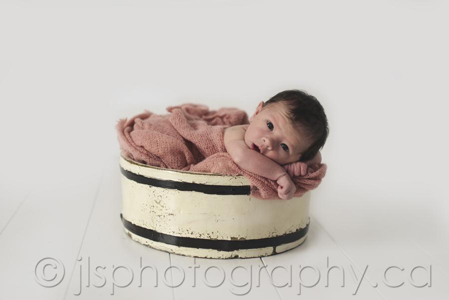 Newborn in a barrel, Newborn in a prop, Baby girl in a basket